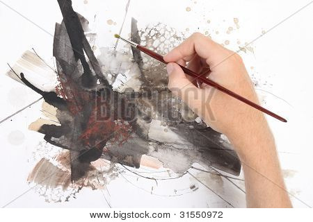 Man Hand Painting Abstract Picrure