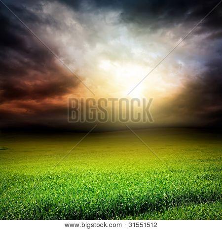 Dark Sky Green Field Of Grass With Sun Light