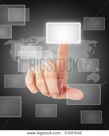 Hand Pushing Button On Touch Screen Interface