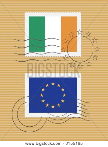Stamps With Flag Of Ireland And Eu