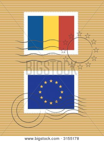 Romania And Eu - Stamps With Flag