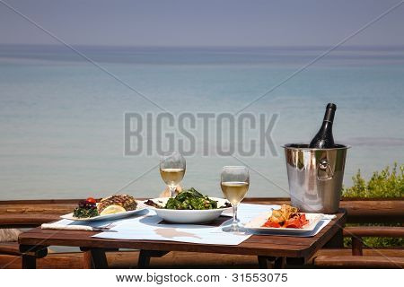 Lunch Table For Two At Restaurant