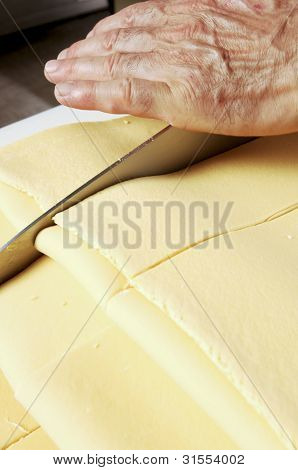 Knife Cutting Fresh Pasta