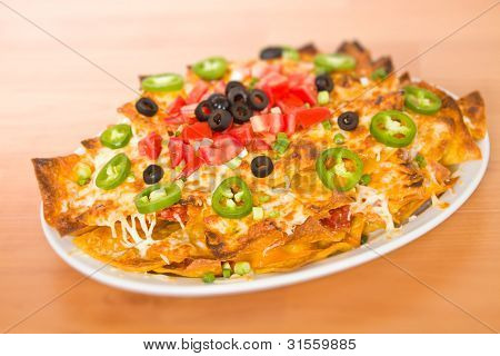 Nachos On Table Wood
