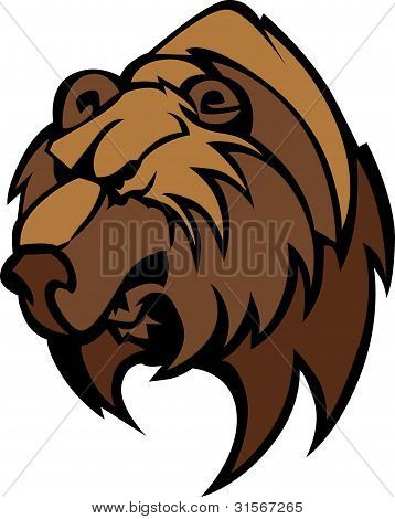 Bear Grizzly Mascot Head Vector Cartoon