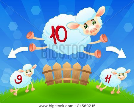 Sheeps Jump Over Fence. Vector
