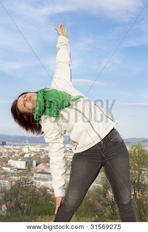 Woman doing stretching and yoga exercises