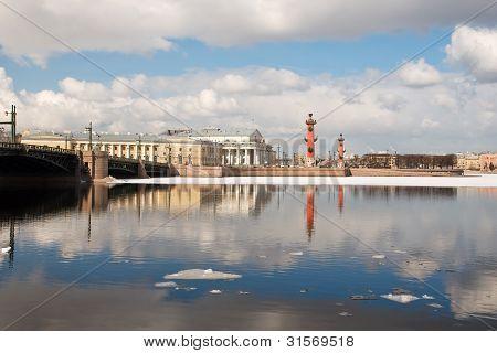 Drifting Ice On The Neva. Arrow Of Vasilevsky Island. St. Petersburg.