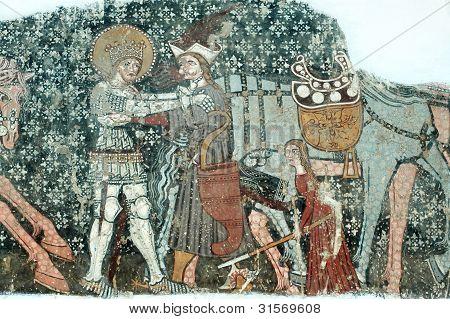 Ancient fresco, murals in Ghelinta (Gelence) church. Transylvania, Romania