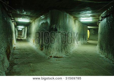 Salt mine corridors in Turda, Romania