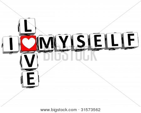3D I Love Myself Crossword Block Text