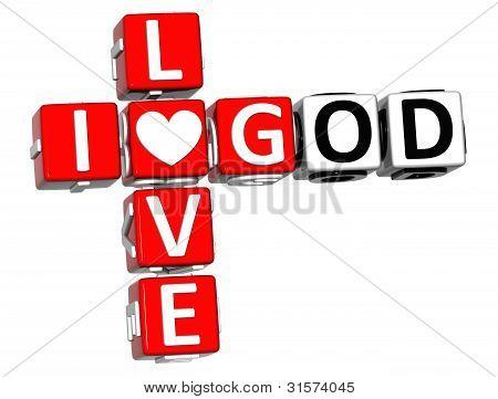 3D I Love God Crossword Block Text
