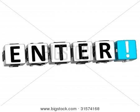 3D Enter Block Text  On White