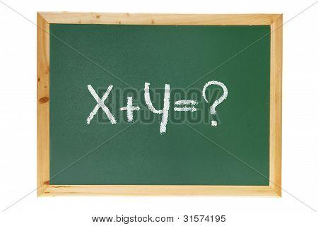 Pizarra con ecuación matemática