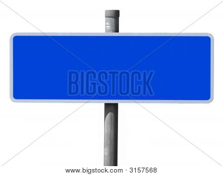 Wide Blue Blank Sign Isolated On A White Background.