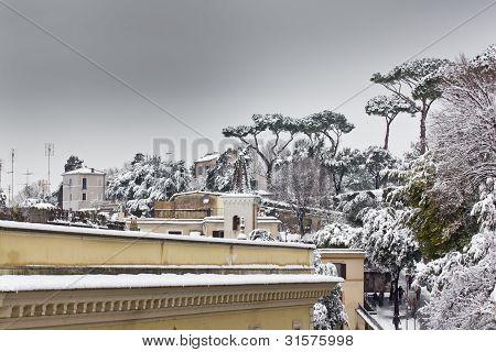 Snow In Villa Borghese, Rome (italy).