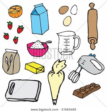 Cake ingredients vector
