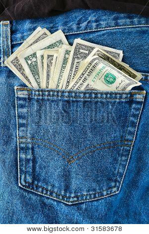 American Money Us Dollar Bills In Jean Rear Pocket