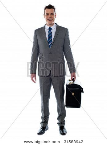 Business Executive Holding Briefcase