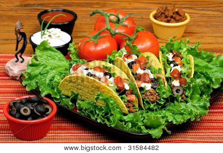 Tacos In A Festive Table Setting.