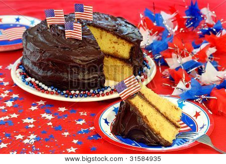 Chocolate Iced cake decorated for July 4th