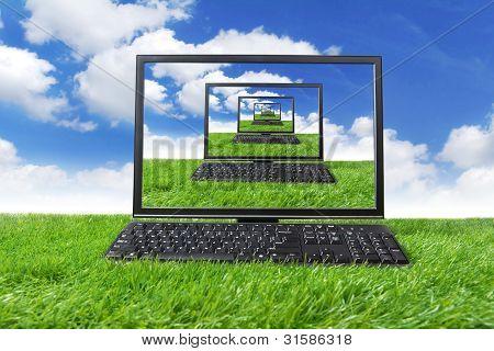 Computer Monitor And Keyboard Shot Outdoor