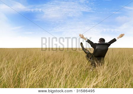 Excited Businessman Sitting Outdoor