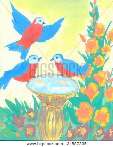 3 wonderful birds imbibe water