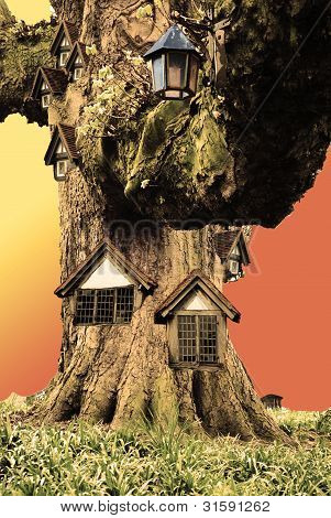 Mysterious dwarf house inside the tree