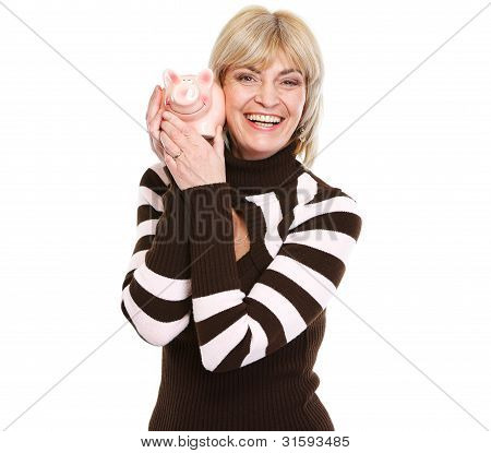 Smiling Middle Age Woman Holding Piggy Bank