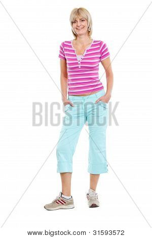 Full Length Portrait Of Happy Middle Age Woman