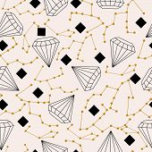 Celestial Elements And Diamonds, In A Seamless Pattern Design poster