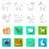 Vector Design Of Breeding And Kitchen Symbol. Set Of Breeding And Organic Stock Vector Illustration. poster