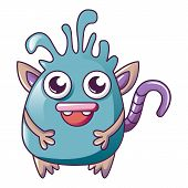 Slizy Monster With Tail Icon. Cartoon Of Slizy Monster With Tail Icon For Web Design Isolated On Whi poster