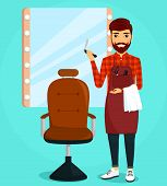 A Young Guy A Professional Hairdresser. Hairdresser In The Workplace, Holding A Razor And A Towel. L poster