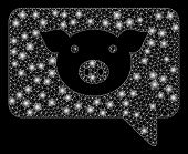 Flare Mesh Pig Message With Glare Effect. Abstract Illuminated Model Of Pig Message Icon. Shiny Wire poster
