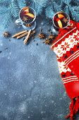 Christmas Background With Mulled Wine, Spruce Branches And A Warm Winter Scarf. View With Copyspace poster