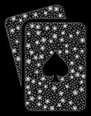 Glowing Mesh Peaks Playing Cards With Sparkle Effect. Abstract Illuminated Model Of Peaks Playing Ca poster