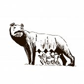 Capitoline Wolf. Rome City Symbol. She-wolf T Beautiful Hand Drawn Vector Sketch Illustration. Italy poster