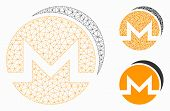 Mesh Monero Coins Model With Triangle Mosaic Icon. Wire Carcass Polygonal Mesh Of Monero Coins. Vect poster