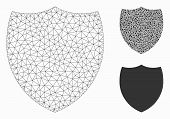 Mesh Shield Model With Triangle Mosaic Icon. Wire Carcass Polygonal Network Of Shield. Vector Mosaic poster