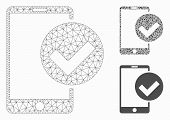 Mesh Phone Ok Model With Triangle Mosaic Icon. Wire Carcass Triangular Mesh Of Phone Ok. Vector Mosa poster