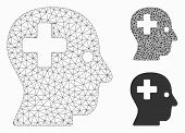 Mesh Plus Head Model With Triangle Mosaic Icon. Wire Carcass Polygonal Network Of Plus Head. Vector  poster