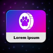 White Paw Print Icon Isolated On Black Background. Dog Or Cat Paw Print. Animal Track. Rectangle Col poster