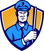 image of truncheon  - Illustration of a policeman police officer holding a baton facing front set inside shield done in retro style - JPG
