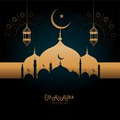 Beautifulgolden Mosque And Lamps Eid-al-adha Greeting Vector Illustration poster