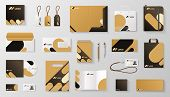 Set Of Corporate Identity Branding Mockup. Realistic Office Stationery Branding Business Card Letter poster