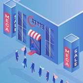 Store Mega Sale Isometric Vector Illustration. Consumerism, Shopping, Advertisement And Marketing, P poster