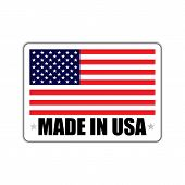 Badge With A Shadow And With The Inscription Made In Usa. Made In Usa Badge With American Flag. Made poster