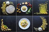 Food Collage With A Variety Pasta Dishes On A Black Background. Food Collage With A Variety Pasta Di poster